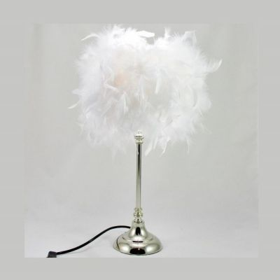 Lampe plumes boa plumes blanches sur pied métal chromé @Rêve de Lampes