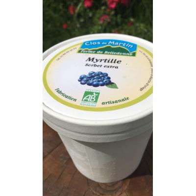 Sorbet artisanal bio Myrtille