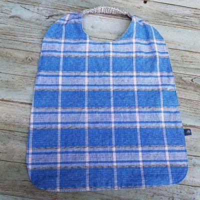 Serviette à élastique en madras bleu pour enfant