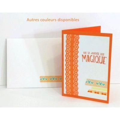 """Carte double A5 """"Que ta journée soit magique"""" + enveloppe - Fuchsia/rose (haut)"""