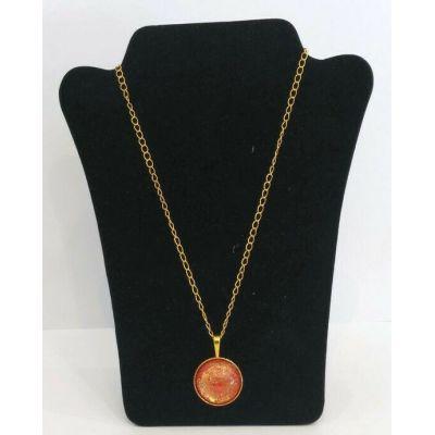 Collier pendentif orange et doré