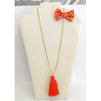 Sautoir orange pompon + nœud