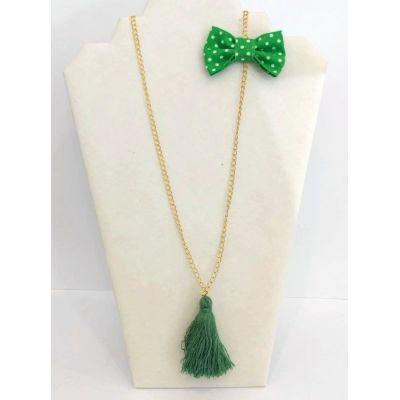 Sautoir vert pompon + nœud