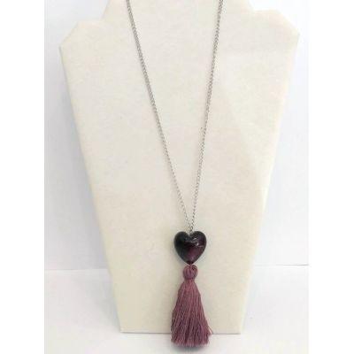 Sautoir violet (perle et pompon)