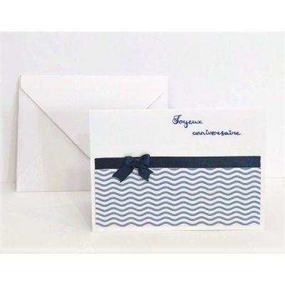 Carte d'anniversaire double, format A5 + enveloppe - Jaune/orange (vagues)