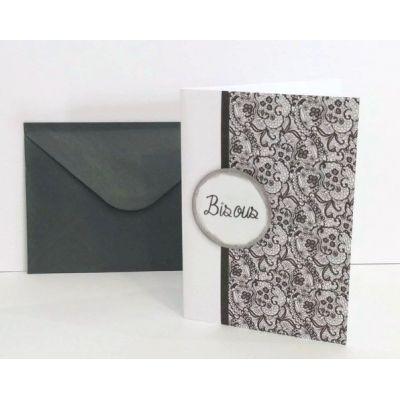 """Carte double, format A5 """"bisous""""+ enveloppe - Fuchsia (haut)"""