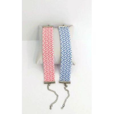 "Manchette en perles japonaises ""Lise"" - Rose"