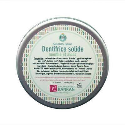 DENTIFRICE SOLIDE, MENTHE ET ALOES
