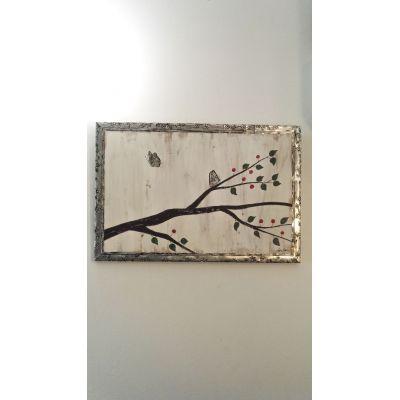 Tableau Papillons et cadre en métal repoussé