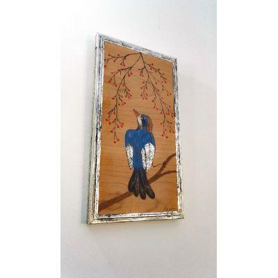 """Tableau Peinture sur Bois Oiseau """"Blue Pitta"""" et métal repoussé - 100% Récup'"""