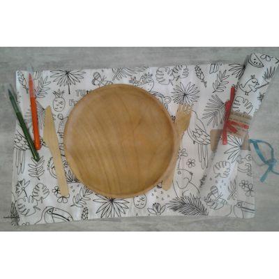 set de table a colorier jungle