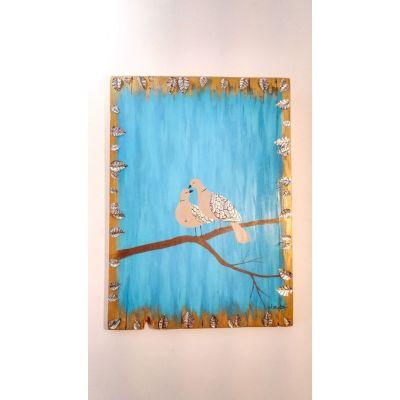 Tableau Tourterelles amoureuses - Peinture sur bois et métal repoussé 100% récup