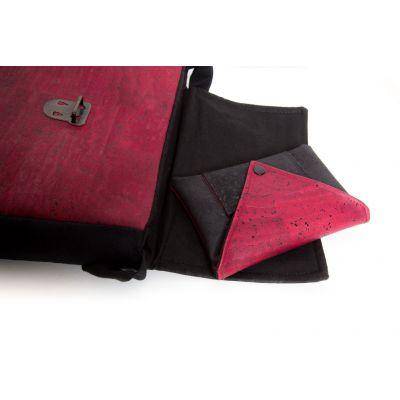 Sac et porte-cartes assorti en cuir de liège rouge et noir