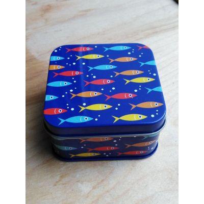 """Coffret boite métal Les poissons, triptyque mini-savons """"avec huiles essentielles"""""""