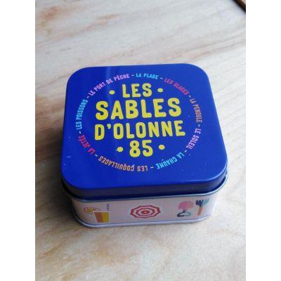"""Coffret boite métal Les Sables, triptyque mini-savons """"avec huiles essentielles"""""""