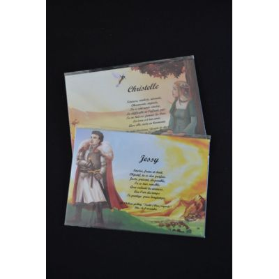 carte prénom chevaliers et princesses - chevalier