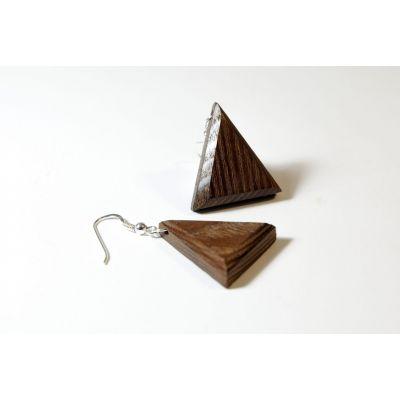 Boucles d'oreilles triangle en bois et argent - Frêne thermo-chauffé - Collection Trinity
