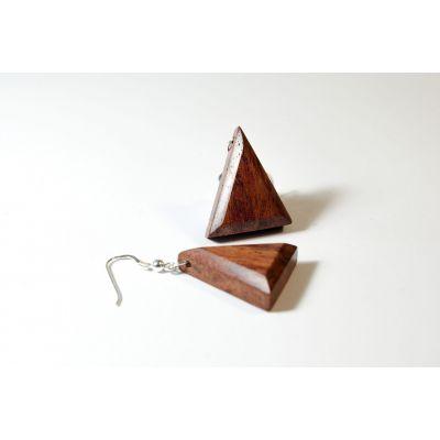 Boucles d'oreilles triangle en bois et argent - Bubinga - Collection Trinity