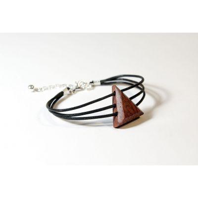 Bracelet triangle en bois et argent - Bubinga - Collection Trinity - Bijou mixte