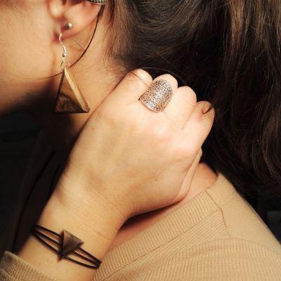 Bracelet triangle en bois et argent - Noyer sauvage - Collection Trinity - Bijou mixte