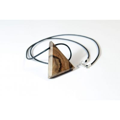 Collier triangle en bois et argent - Noyer sauvage - Collection Trinity - Bijou mixte