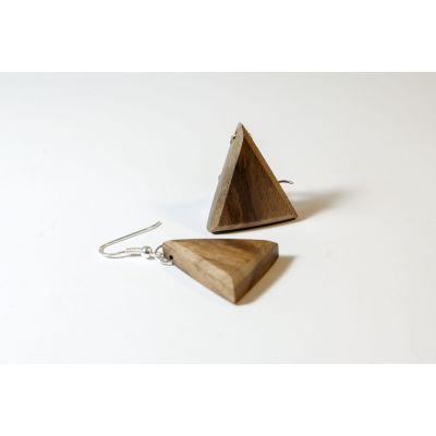 Boucles d'oreilles triangle en bois et argent - Noyer sauvage - Collection Trinity