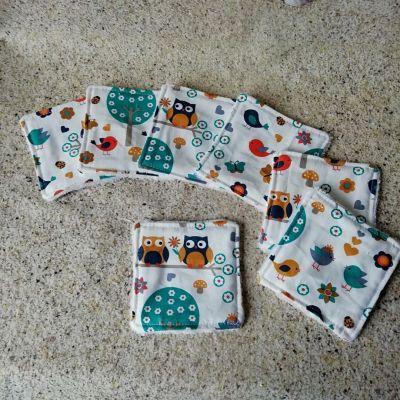 7 Lingettes lavables Chouettes