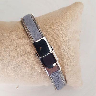 Bracelet cuir 10 mm Gris Peau et Chainette réglable - Gris