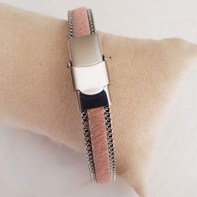 Bracelet cuir 10 mm Peau et Chainette réglable