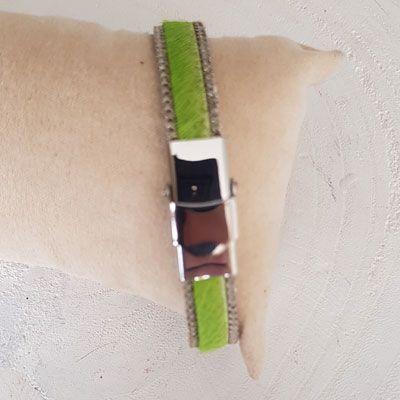 Bracelet cuir 10 mm Vert Anis Peau et Chainette réglable - Vert