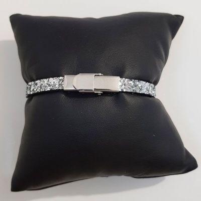 Bracelet cuir 06 mm Paillettes Argent ajustable au poignet