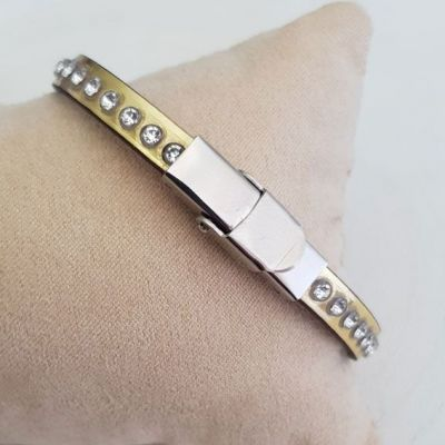 Bracelet cuir 06 mm Or strass Swarovski ajustable au poignet - Or
