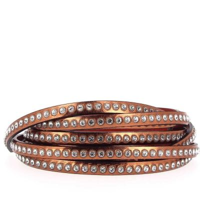 Bracelet cuir 06 mm Antic strass Swarovski ajustable au poignet - Marron