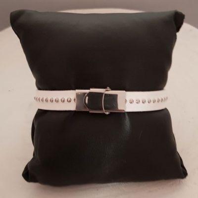 Bracelet cuir 10 mm Chaîne Bille Blanc ajustable au poignet - Blanc