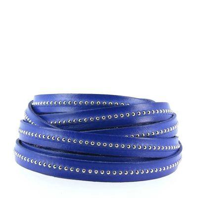 Bracelet cuir 10 mm Chaîne Bille Bleu Cobalt ajustable au poignet - Bleu