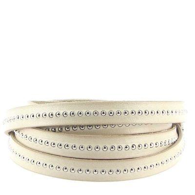 Bracelet cuir 10 mm Chaîne Bille Taupe ajustable au poignet - Beige