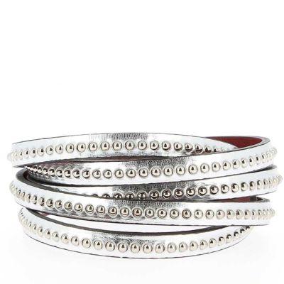 Bracelet cuir 06 mm Chaîne Bille Argent ajustable au poignet - Argenté