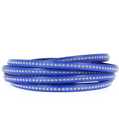 Bracelet cuir 06 mm Chaîne Bille Bleu Cobalt ajustable au poignet - Bleu