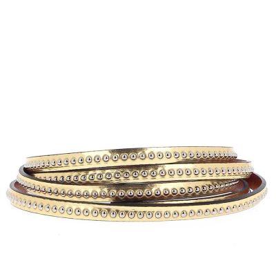 Bracelet cuir 06 mm Chaîne Bille Doré Or ajustable au poignet - Or