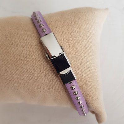 Bracelet cuir 06 mm Chaîne Bille Glicine ajustable au poignet - Glicine