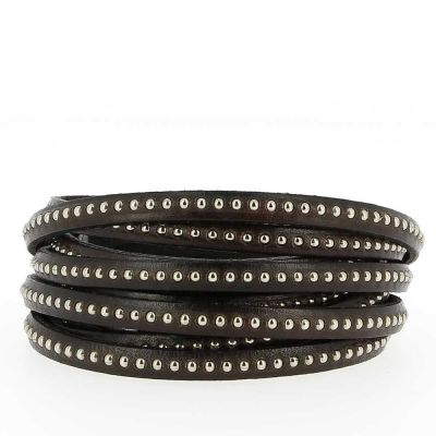 Bracelet cuir 06 mm Chaîne Bille T-Moro ajustable au poignet - Marron
