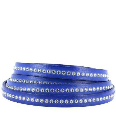 Bracelet cuir 10 mm Cobalt strass Swarovski ajustable au poignet - Bleu