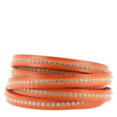 Bracelet cuir 10 mm Orange strass Swarovski ajustable au poignet - Orange