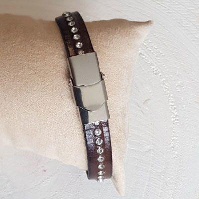 Bracelet cuir 10 mm T-Moro strass Swarovski ajustable au poignet - Marron