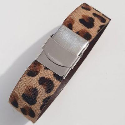 Bracelet Léopard de 20 mm ajustable au poignet - Beige