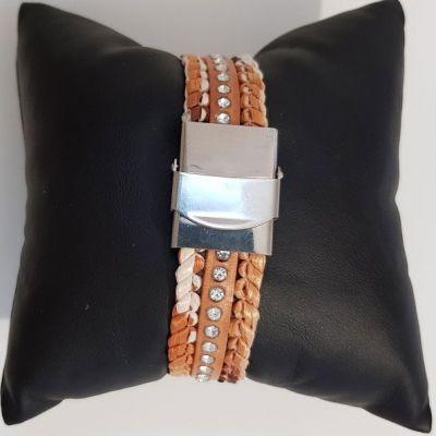 Bracelet Raffia et cuir avec strass de 15 mm ajustable au poignet - Marron