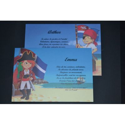 carte prénom pirates - pirate fille
