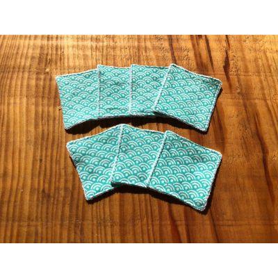 """Lot de 7 mini lingettes nettoyantes """"vague seigaiha"""" turquoise"""