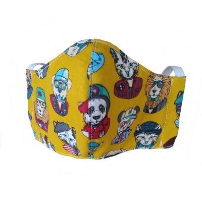 """MASQUE tissu """"Chiens chats"""" en coton lavable et réutilisable avec emplacement pour filtre - Enfants 3/6 ans"""