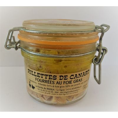 Rillettes de canard fourrées au Foie gras de canard entier 190gr